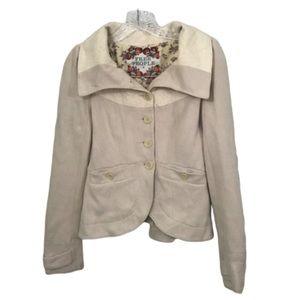 FREE PEOPLE SZ 4 - Cream Jacket w/ Brocade Detaili